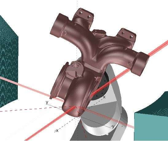 Screenshot of a SScanSS simulation of a neutron diffraction measurement in a turbine housing featuring a complex geometry.