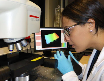 Residual stress expert measuring the topography of a contour method cut using our confocal microscope.